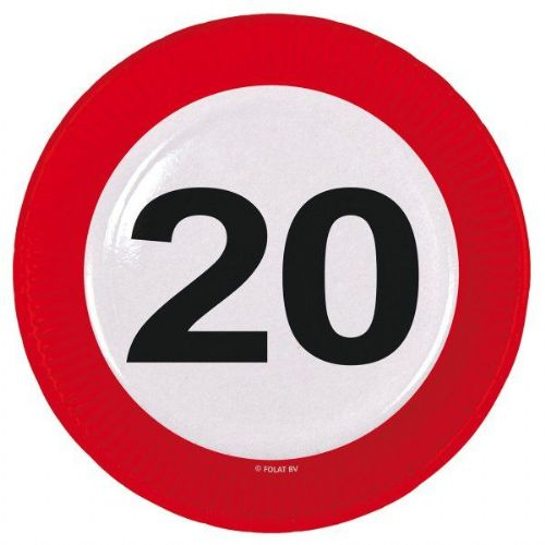 Traffic Sign 20th Party Plates 23cm 8's Birthday Tableware Table Disposable